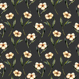 Seamless floral pattern with watercolor pink flowers. Hand drawn isolated on a dark background Stock Photo