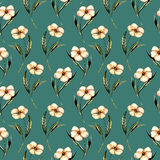 Seamless floral pattern with watercolor pink flowers. Hand drawn isolated on a dark green background Royalty Free Stock Photo