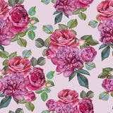 Seamless floral pattern with watercolor pink roses and peonies. Royalty Free Stock Photo