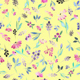 Seamless floral pattern with watercolor purple flowers, blue leaves and berries Stock Images
