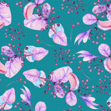 Seamless floral pattern with the watercolor purple leaves and berries on the branches stock illustration