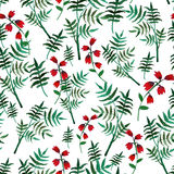 Seamless floral pattern with watercolor red flowers and leaves in vintage style on white background. . Hand made. Ornate Stock Photos