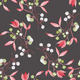 Seamless floral pattern with the watercolor red leaves on the branches and green berries (Mistletoe) Royalty Free Stock Photography