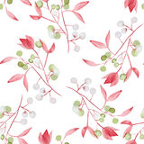 Seamless floral pattern with the watercolor red leaves on the branches and green berries (Mistletoe) Stock Photo