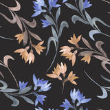 Seamless floral pattern with the watercolor simple pink and blue abstract flowers Royalty Free Stock Photos