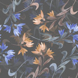Seamless floral pattern with the watercolor simple pink and blue abstract flowers Royalty Free Stock Photo