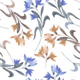 Seamless floral pattern with the watercolor simple pink and blue abstract flowers Royalty Free Stock Photography