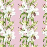 Seamless floral pattern. Watercolor white lilies, hand drawn botanical illustration of flowers. Seamless floral pattern. Watercolor white lilies, hand drawn Stock Photography