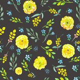 Seamless floral pattern with watercolor yellow and blue flowers Royalty Free Stock Image