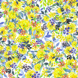 Seamless floral pattern with watercolor yellow flowers, blue leaves and berries Stock Images