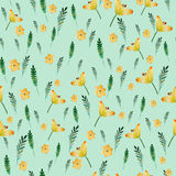 Seamless floral pattern with watercolor yellow flowers and leaves in vintage style. Hand made. Ornate for textile Royalty Free Stock Photo
