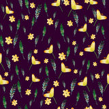 Seamless floral pattern with watercolor yellow flowers and leaves in vintage style. Hand made. Ornate for textile Stock Photo