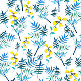 Seamless floral pattern with watercolor yellow flowers and leaves in vintage style on white background. . Hand made Stock Images