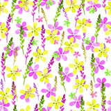 Seamless floral pattern with watercolor yellow pink flowers and leaves in vintage style on white background. . Hand made Stock Image