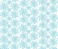 Seamless floral pattern. On a white background the blue flowers of edelweiss, water lily, lotus. For greeting cards, invitations. Royalty Free Stock Image