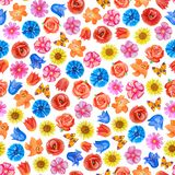 Seamless floral pattern on white background. Different bright flowers. royalty free illustration