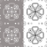 Seamless floral pattern on a white background and gray tiles Royalty Free Stock Image