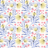 Seamless floral pattern on a white background. Stock Photo