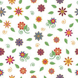 Seamless floral pattern on white background, vector. Royalty Free Stock Image