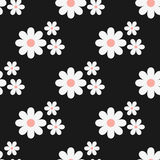 Seamless floral pattern. White flowers on a black background. Stock Image