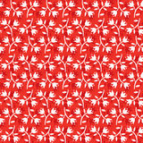 Seamless floral pattern white flowers on red background Stock Photo
