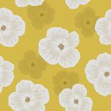 Seamless floral pattern. White flowers on a yellow background Royalty Free Stock Photography