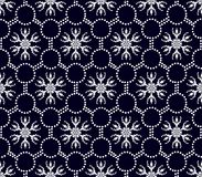 Seamless floral pattern of geometric white shapes royalty free illustration