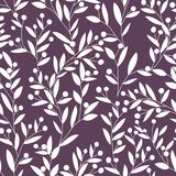 Seamless floral pattern. White leaves and berries on dark background for fabric and wallpaper. Vector illustration. Royalty Free Stock Photo
