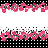 Seamless floral pattern on white with polka dots. Black background Stock Images