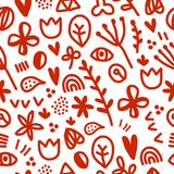Seamless Floral Pattern,. Seamless floral pattern with white and red, plants, heart, tulips, eye dots Stock Image