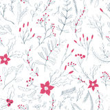 Seamless floral pattern with winter plants Royalty Free Stock Photography