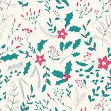 Seamless floral pattern with winter plants Royalty Free Stock Photo