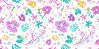 Free Seamless Floral Pattern With Bright Colorful Flowers And Tropical Leaves On White Background Template For Fashion Prints Royalty Free Stock Photo - 225054505