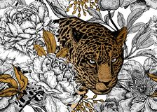 Free Seamless Floral Pattern With Leopard And Peonies Royalty Free Stock Images - 133420539
