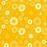 Seamless floral pattern yellow background Royalty Free Stock Image
