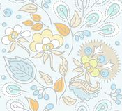 Seamless, floral pattern, yellow flowers, blue berries, blue background. Royalty Free Stock Photography