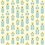 Seamless floral pattern, yellow and teal Royalty Free Stock Photo