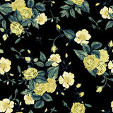 Seamless floral pattern with yellow and white roses on black bac Stock Photos