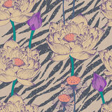 Seamless floral pattern on zebra background Stock Photos