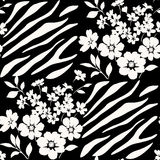 Seamless floral pattern with zebra stripes Stock Photo