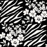 Seamless floral pattern with zebra stripes Stock Photo
