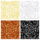 Seamless floral patterns. Vintage style seamless patterns with decorative floral scrolls and swirls Stock Image