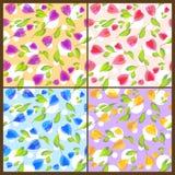Seamless floral patterns. Set of seamless floral patterns vector illustration