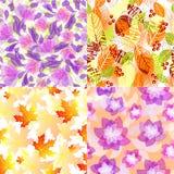 Seamless floral patterns. Set of seamless floral patterns stock illustration