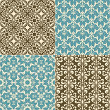 Seamless  Floral Patterns. 4 seamless retro  floral  paterns Stock Photo