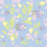 Seamless floral patterns. Seamless floral patterns on blue background Stock Photography