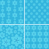 Seamless floral patterns on blue background. Patterns for your design projects: banners, business cards, posters, textiles Stock Images