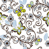 Seamless floral patterns with butterflies and hearts. Vector ill. Ustration Stock Photography