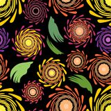 Seamless floral patterns on the dark background Stock Photos