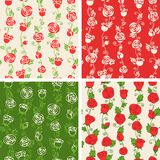 Seamless floral patterns. Four patterns of roses. Seamless pattern can be used for wallpapers, web page backgrounds or wrapping papers. EPS 8 Royalty Free Stock Photos